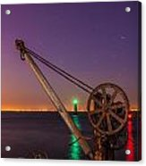 Rusty Davit And Two Lighthouses Acrylic Print by Semmick Photo