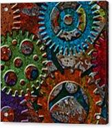Rusty Gears On Grunge Texture Background Acrylic Print