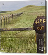 Rusty Keep Out Sign On Fence - California Usa Acrylic Print