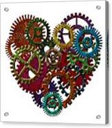 Rusty Metal Gears Forming Heart Shape Illustration Acrylic Print