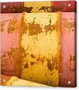 Rusty Oil Barrels Yellow Red Background Pattern Acrylic Print