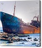 Rusty Old Shipwreck Aground  On Rocky Reef Acrylic Print