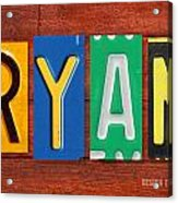 Ryan License Plate Name Sign Fun Kid Room Decor. Acrylic Print