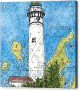 S Manitou Island Lighthouse Mi Nautical Chart Map Art Acrylic Print