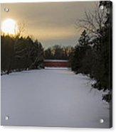 Sachs Covered Bridge At Sunrise In Winter Acrylic Print
