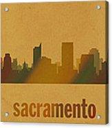 Sacramento California City Skyline Watercolor On Parchment Acrylic Print