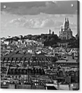 Sacre Coeur Over Rooftops Black And White Version Acrylic Print