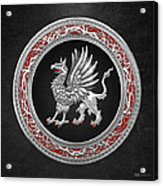 Sacred Silver Griffin On Black Leather Acrylic Print