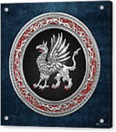 Sacred Silver Griffin On Blue Leather Acrylic Print