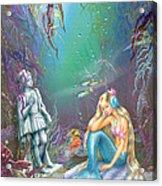 Sad Little Mermaid Acrylic Print by Zorina Baldescu