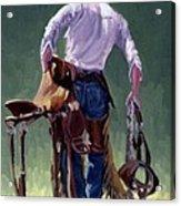 Saddle Bronc Rider Acrylic Print by Randy Follis