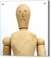 Sadness Wooden Figurine Acrylic Print by Bernard Jaubert