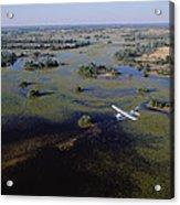 Safari Airplane Flying Over Okavango Acrylic Print