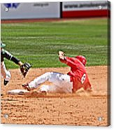 Safe At Second Acrylic Print by Bob Hislop