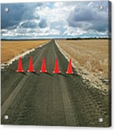 Safety Cones Lined Up Across A Rural Acrylic Print