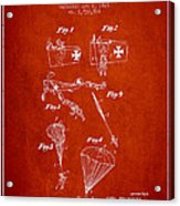 Safety Parachute Patent From 1925 - Red Acrylic Print