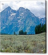 Sagebrush Flatland And Teton Peaks Near Jenny Lake In Grand Teton National Park-wyoming- Acrylic Print