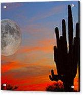 Saguaro Full Moon Sunset Acrylic Print
