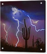 Saguaro Lightning Nature Fine Art Photograph Acrylic Print