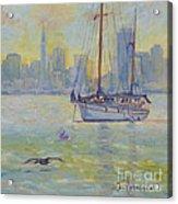 Sailboat Anchored At Sunset Acrylic Print