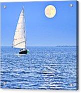 Sailboat At Full Moon Acrylic Print by Elena Elisseeva
