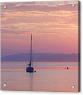 Sailboat At Sunrise In Casco Bay Maine Acrylic Print