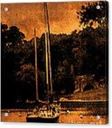 Sailboat By The Bridge Acrylic Print