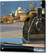 Sailboat Details Of Chain And Roller Acrylic Print by Juergen Roth