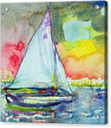 Sailboat Evening Wc On Paper Acrylic Print