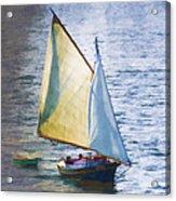 Sailboat Off Marthas Vineyard Massachusetts Acrylic Print by Carol Leigh