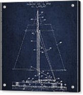 Sailboat Patent From 1932 - Navy Blue Acrylic Print
