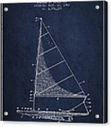 Sailboat Patent From 1962 - Navy Blue Acrylic Print