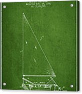 Sailboat Patent From 1991- Green Acrylic Print