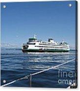 Sailboat Sees Ferryboat Acrylic Print
