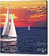 Sailboats At Sunset Acrylic Print