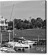 Sailboats Docked At North Myrtle Beach Mono Acrylic Print by John Rizzuto