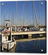 Sailboats In Badalona Marina Acrylic Print