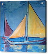 Sailboats With Red And Yellow Sails Acrylic Print