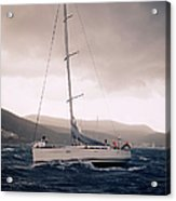 Sailing  And Stormy Weather Acrylic Print