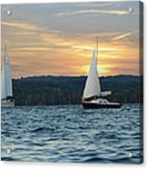 Sailing At Sunset Acrylic Print by Steven Michael