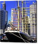 Sailing Boat Anchored In South Street Seaport 1984 Acrylic Print
