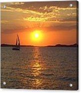 Sailing Boat In Ibiza Sunset Acrylic Print