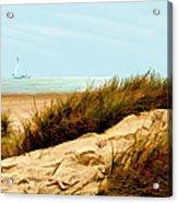 Sailing By Sand Dune Acrylic Print