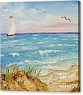 Sailing By The Beach Acrylic Print