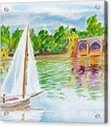 Sailing By The Bridge Acrylic Print
