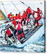 Sailing Crew On Sailboat During Regatta Acrylic Print