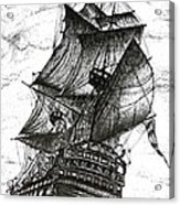 Sailing Drawing Pen And Ink In Black And White Acrylic Print by Mario Perez