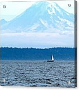 Sailing In Mt. Rainier's Shadow Acrylic Print