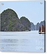 Sailing Junk Boats In Halong Bay Acrylic Print by Sami Sarkis