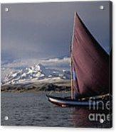 Sailing Boat On Lake Titicaca Acrylic Print